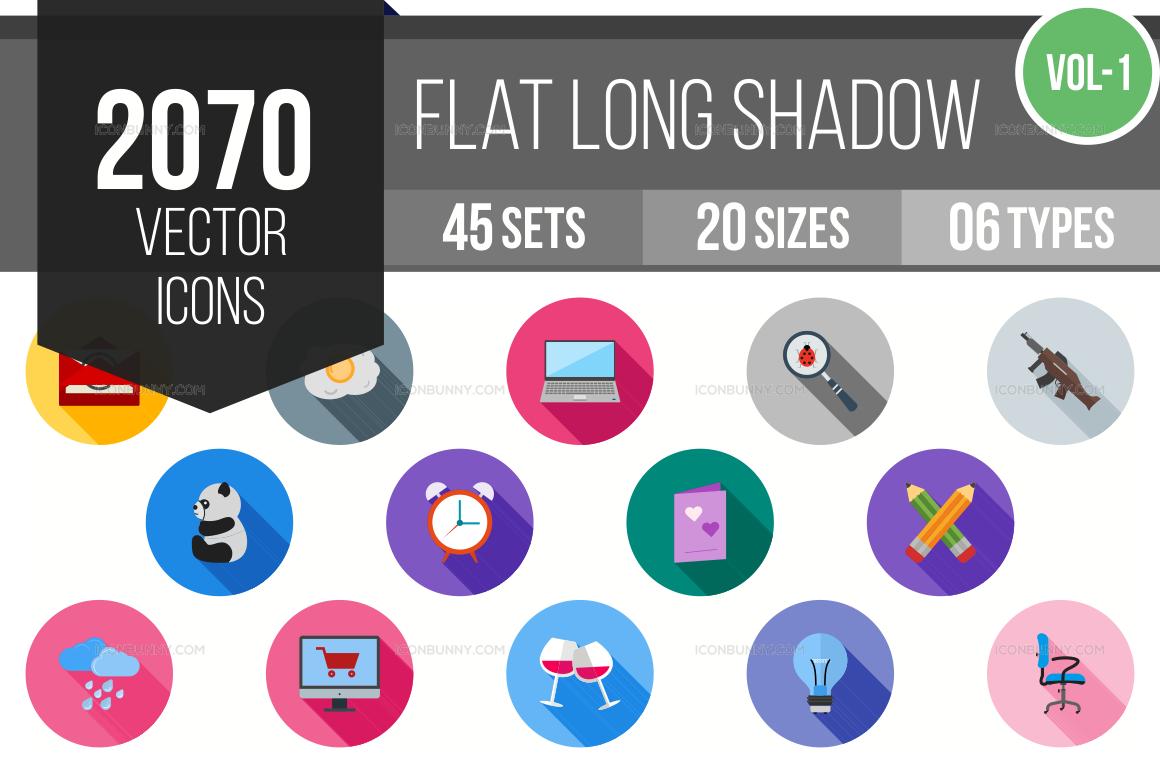 2000+ Flat Shadowed Icons Bundle (V-1)