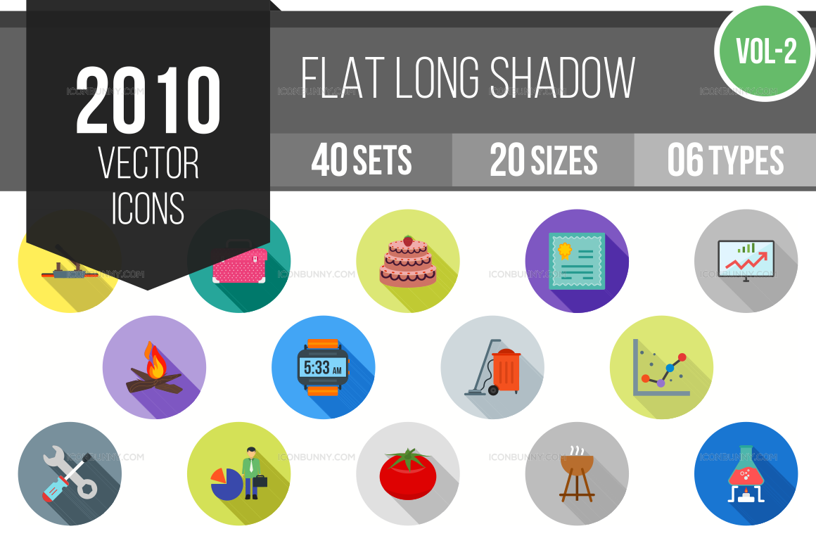 2000+ Flat Shadowed Icons Bundle (V-2)