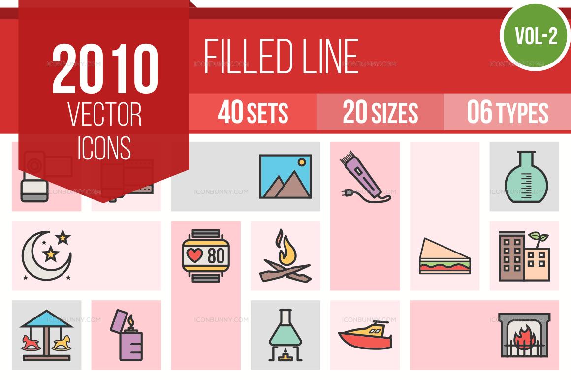 2000+ Line Multicolor Filled Icons Bundle (V-2)
