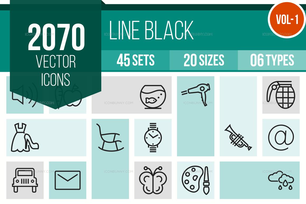 2000+ Line Icons Bundle (V-1)
