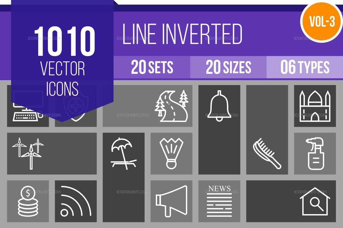 1000+ Line Inverted Icons Bundle (V-3)