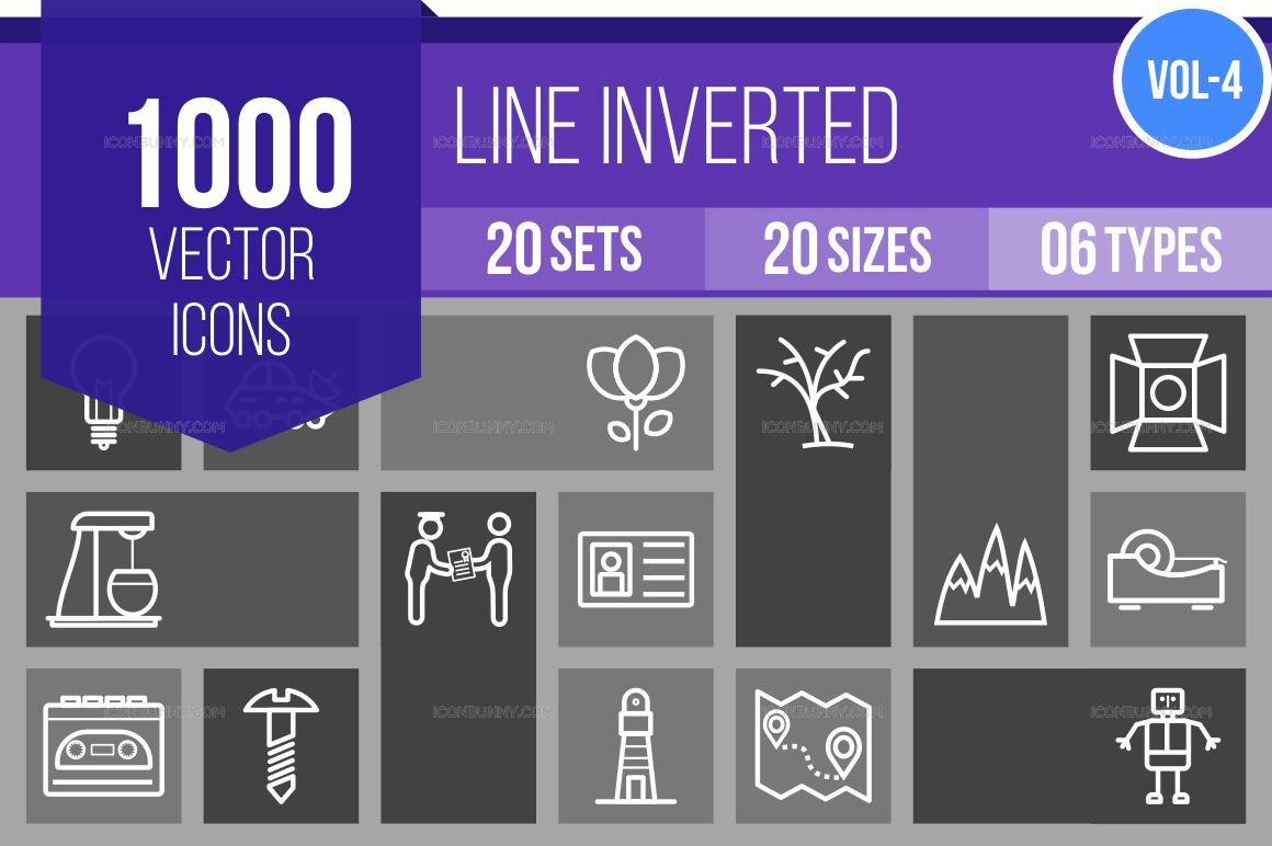1000+ Line Inverted Icons Bundle (V-4)