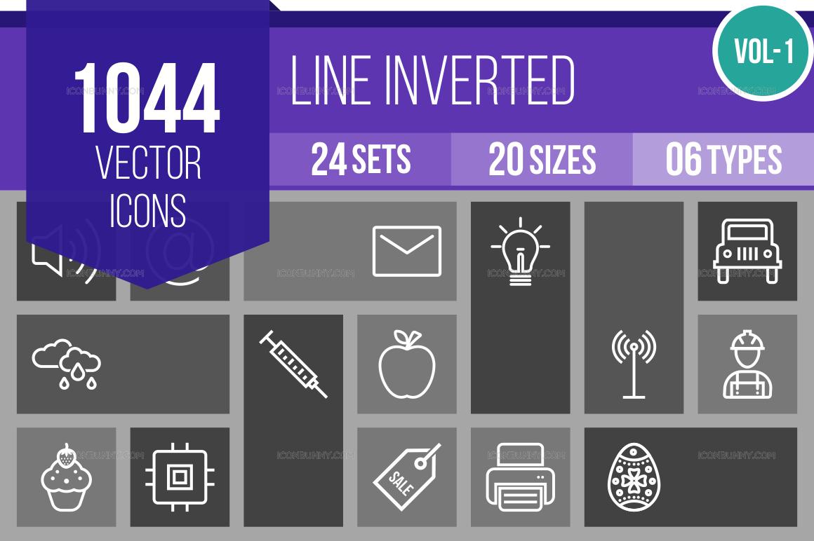 1000+ Line Inverted Icons Bundle (V-1)