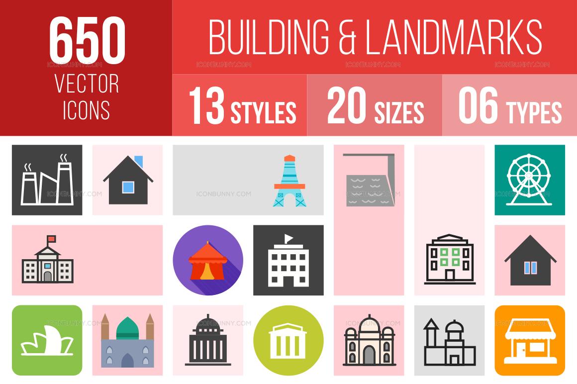 Buildings & Landmarks Icons Bundle