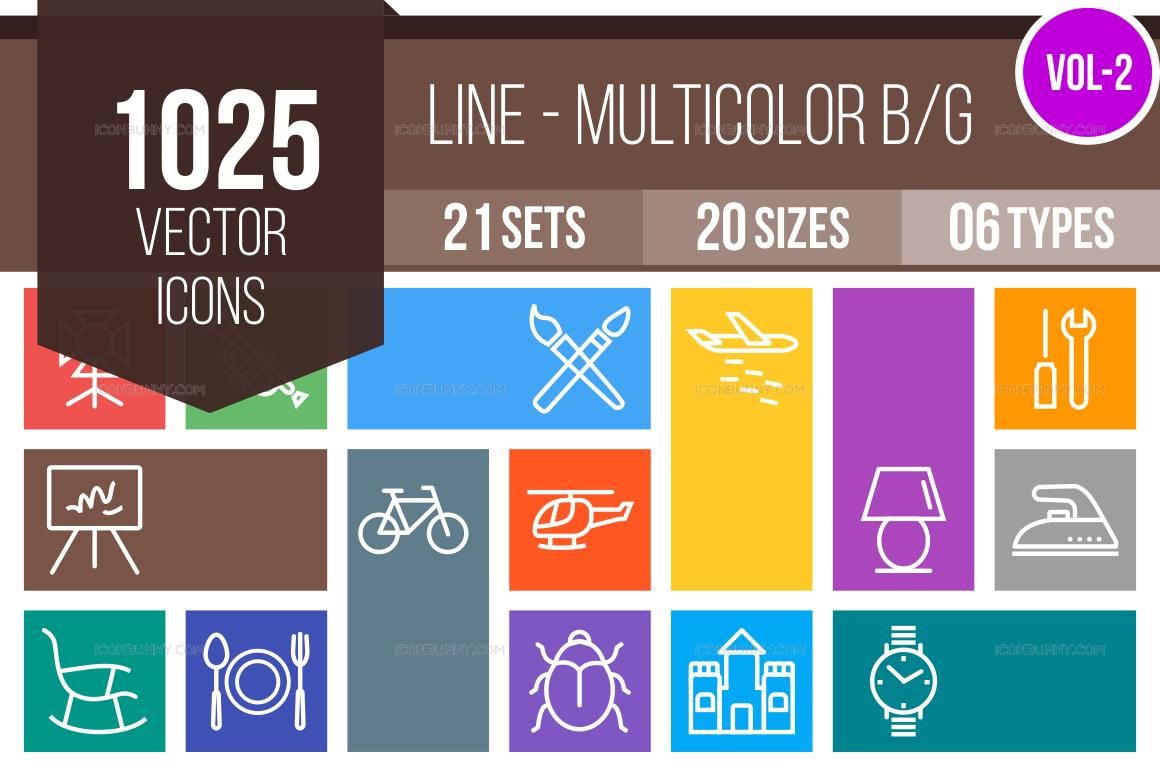 1000+ Line Multicolor B/G Icons Bundle (V-2)