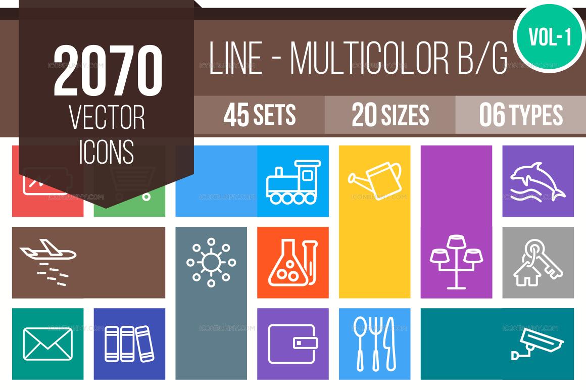 2000+ Line Multicolor B/G Icons Bundle (V-1)