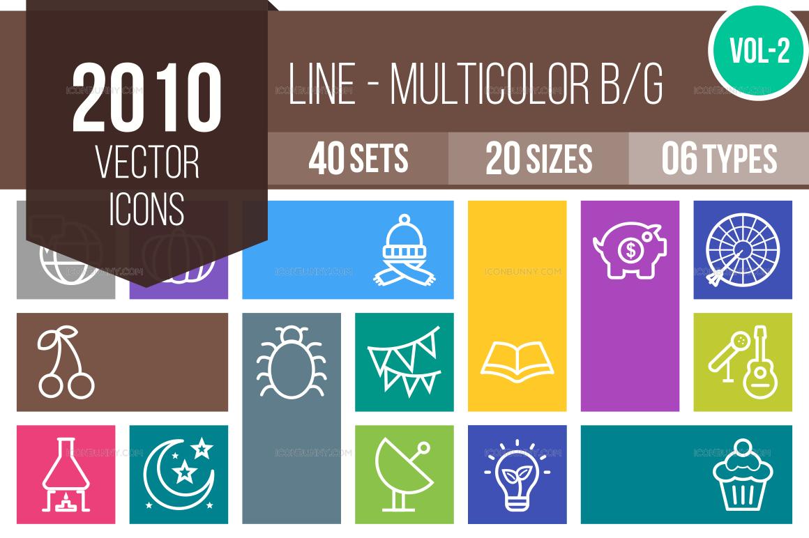 2000+ Line Multicolor B/G Icons Bundle (V-2)