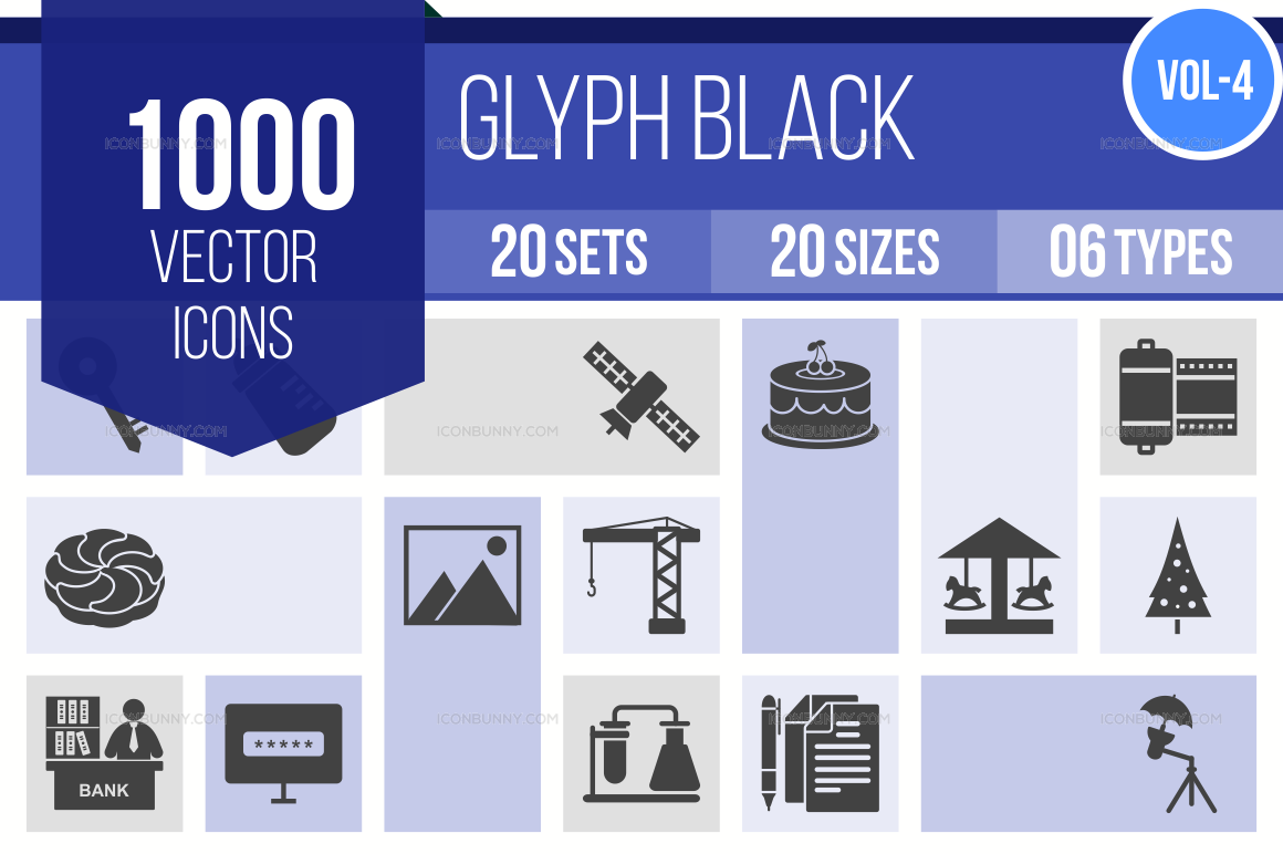 1000+ Glyph Icons Bundle (V-4)