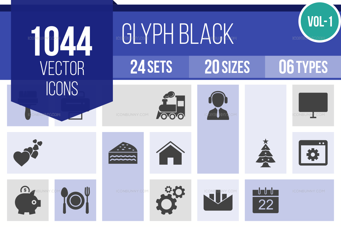 1000+ Glyph Icons Bundle (V-1)