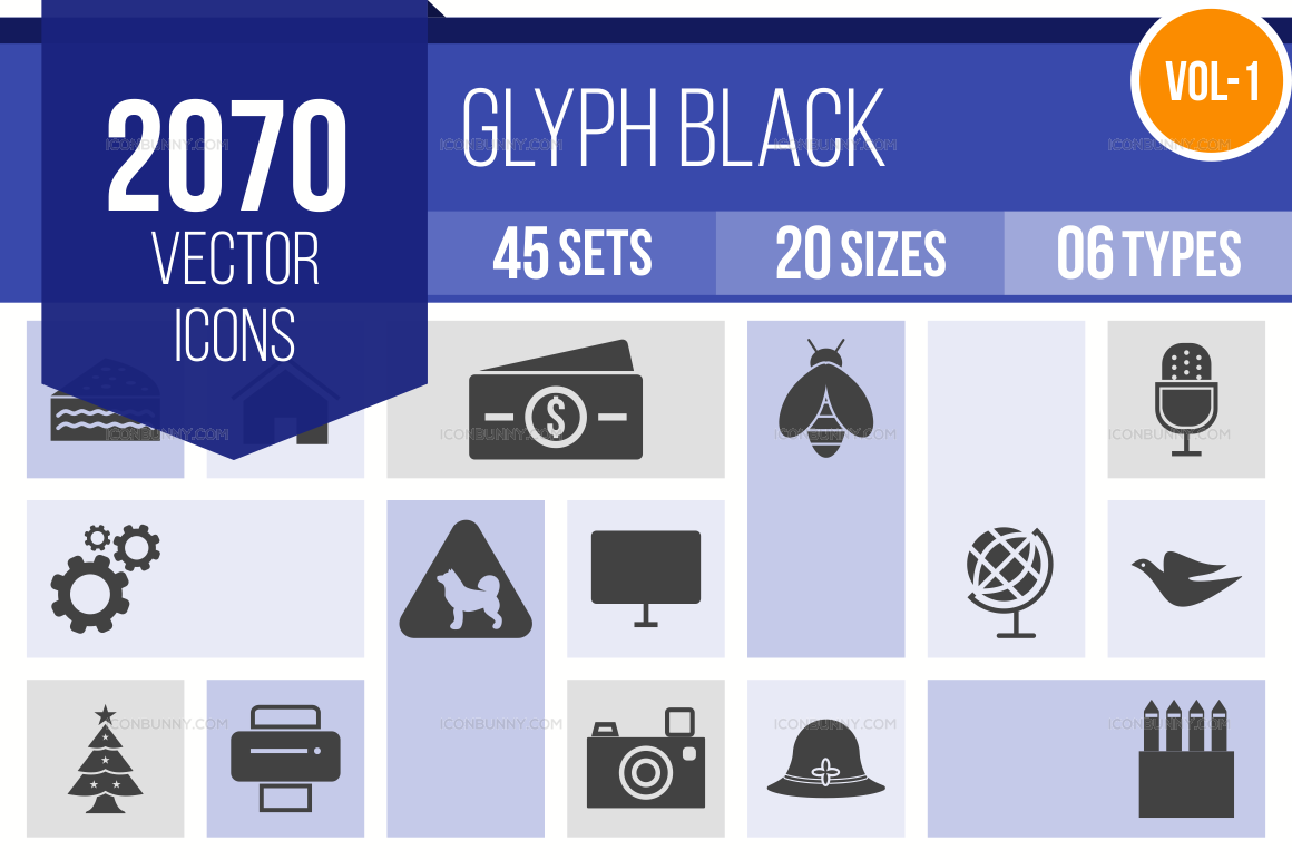 2000+ Glyph Icons Bundle (V-1)
