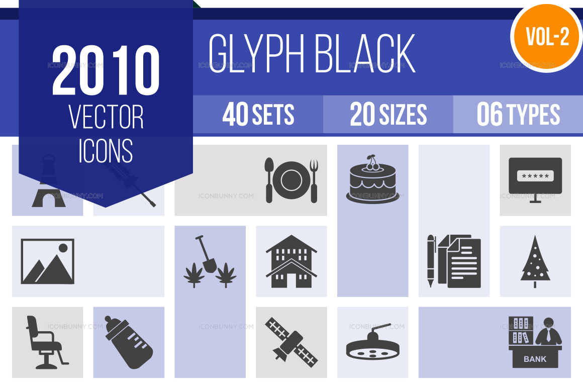 2000+ Glyph Icons Bundle (V-2)