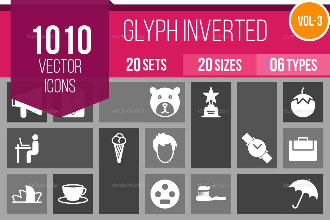 1000+ Glyph Inverted Icons Bundle (V-3)