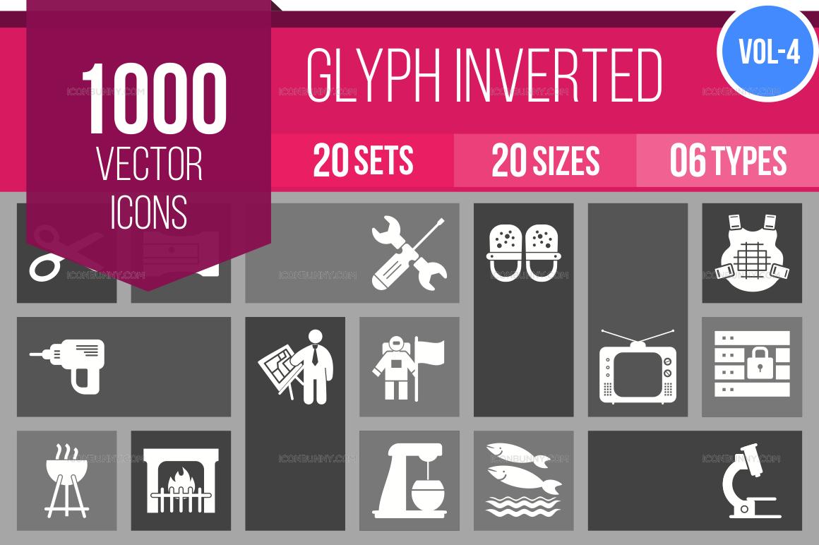 1000+ Glyph Inverted Icons Bundle (V-4)