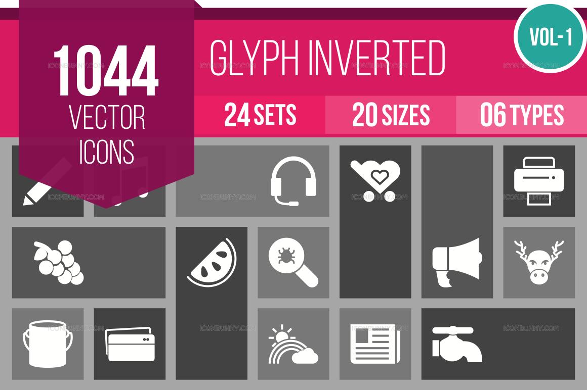 1000+ Glyph Inverted Icons Bundle (V-1)