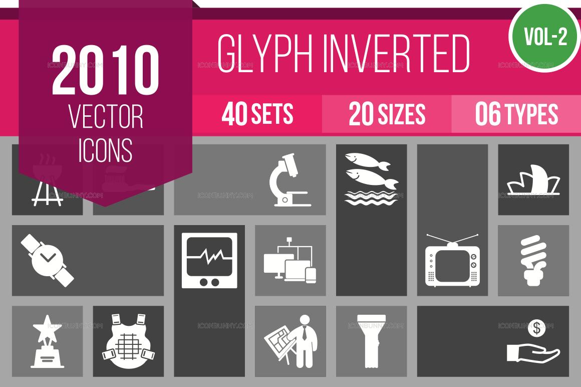 2000+ Glyph Inverted Icons Bundle (V-2)