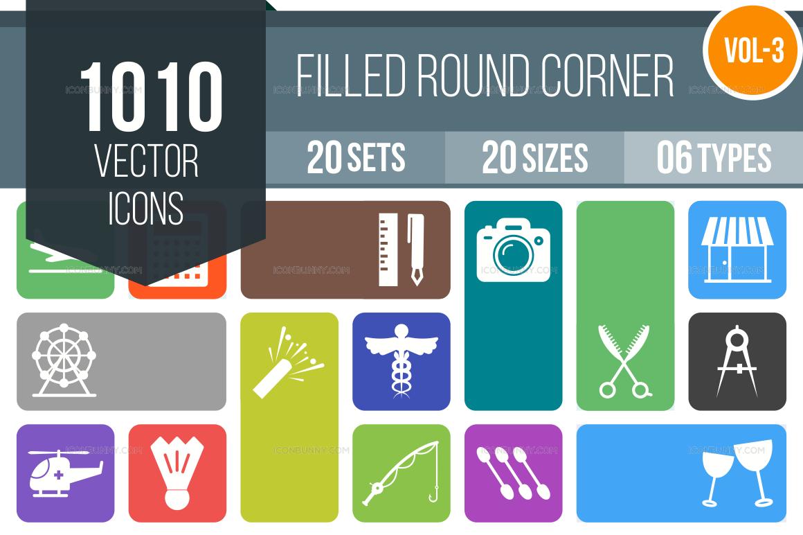 1000+ Flat Round Corner Icons Bundle (V-3)