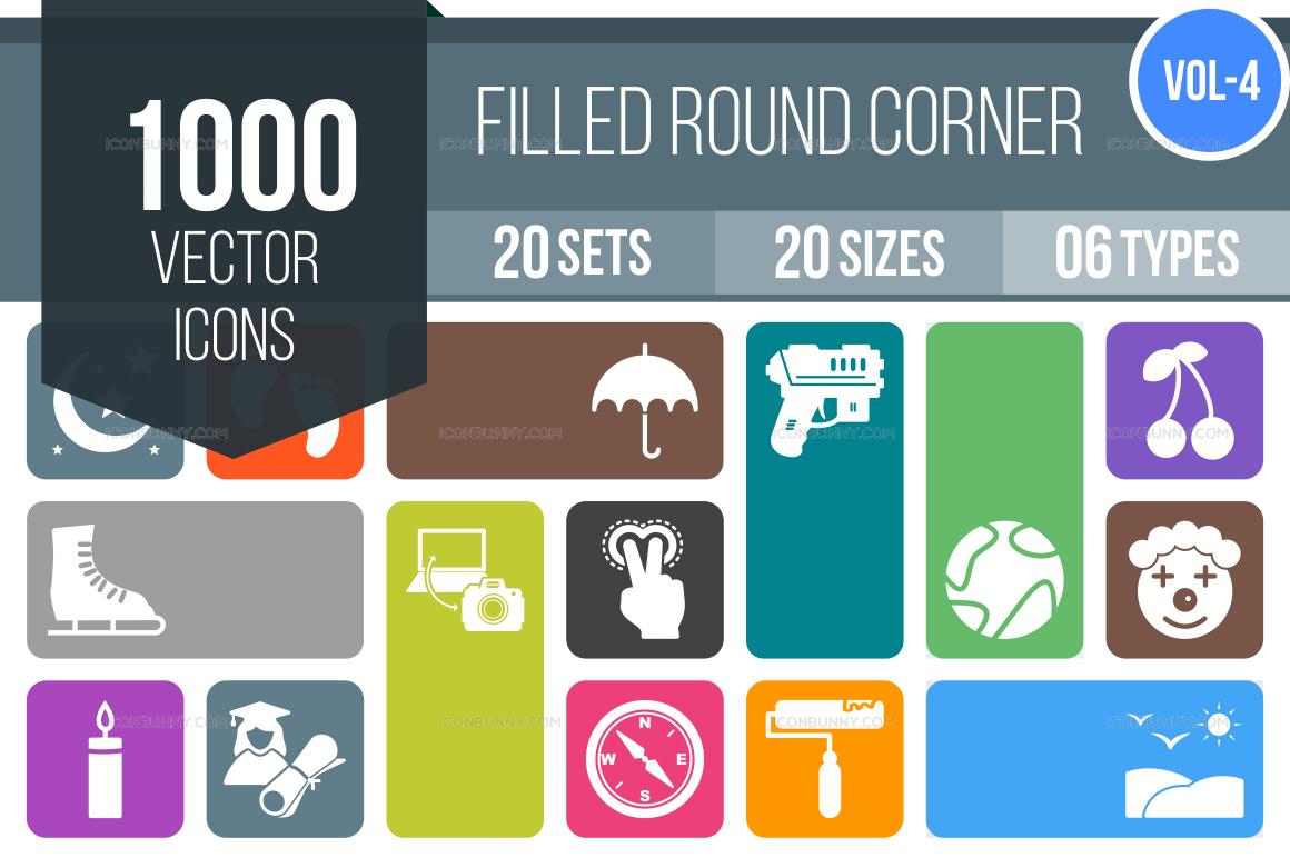 1000+ Flat Round Corner Icons Bundle (V-4)