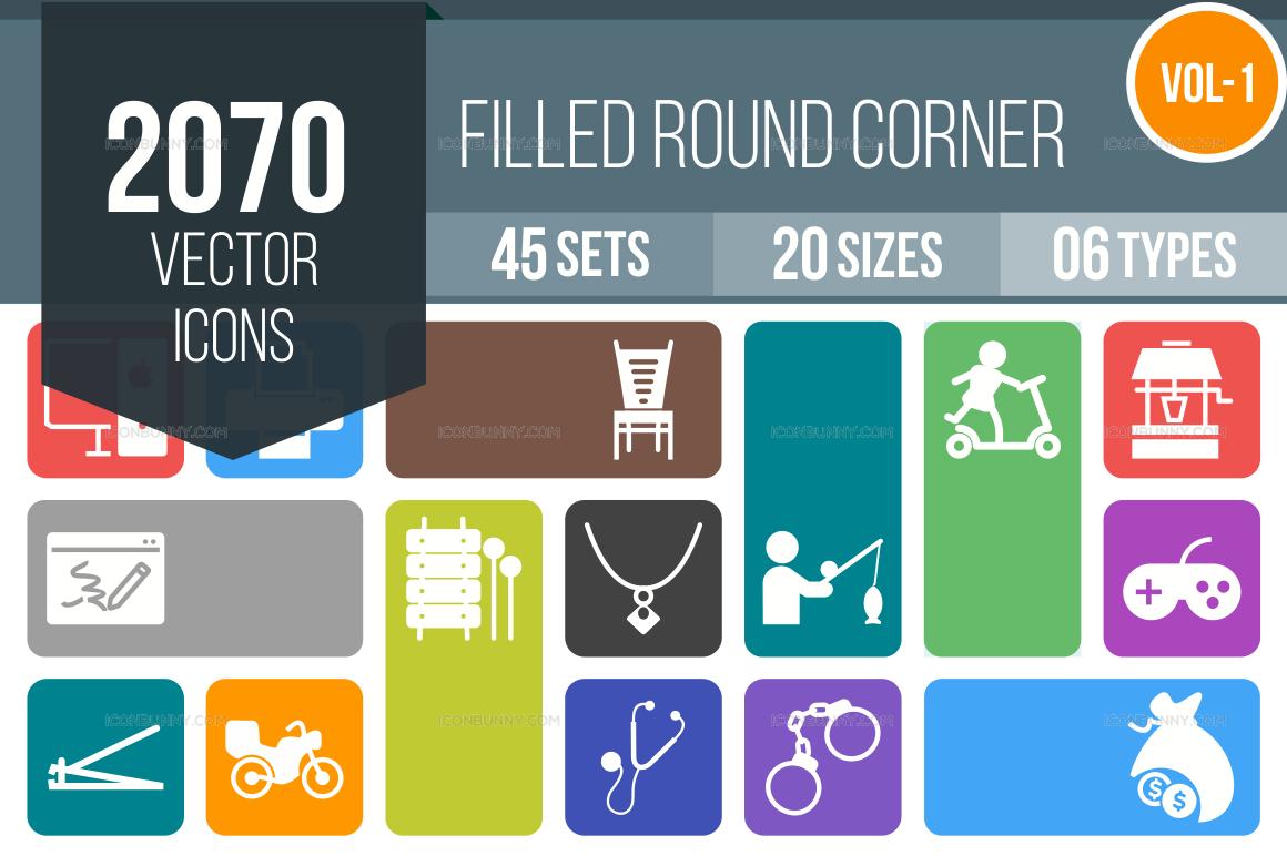 2000+ Flat Round Corner Icons Bundle (V-1)