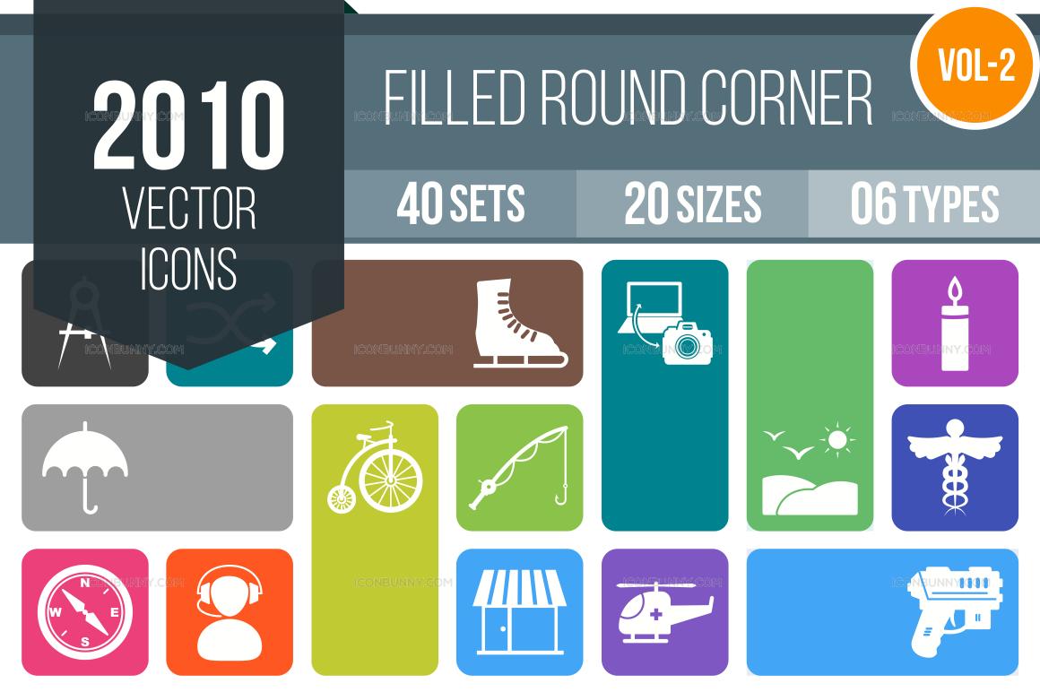 2000+ Flat Round Corner Icons Bundle (V-2)