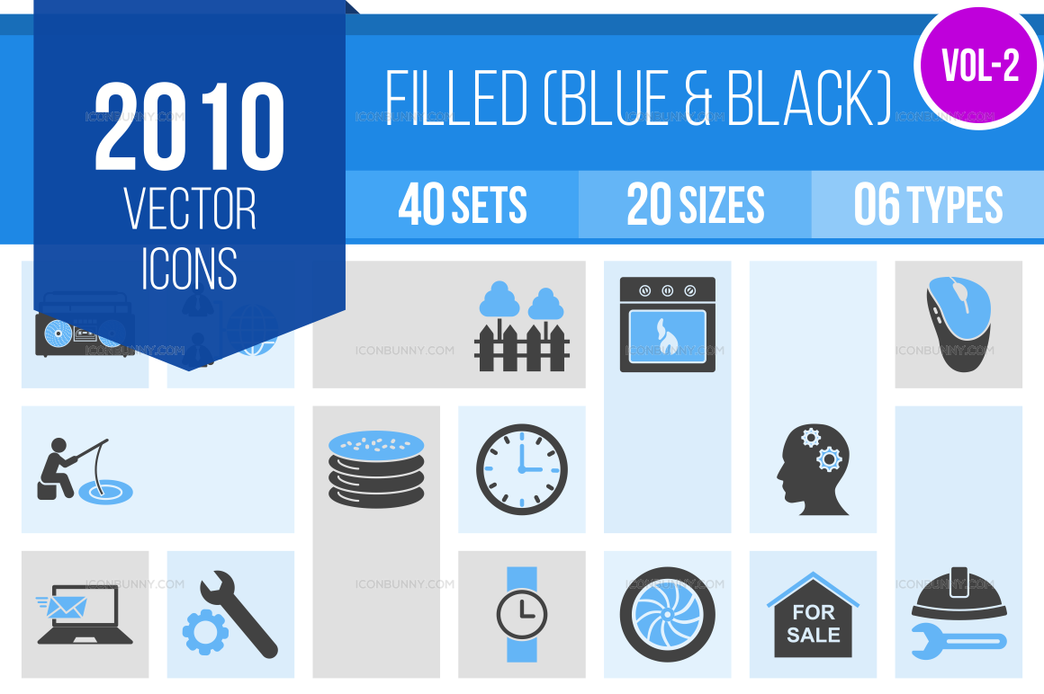 2000+ Blue & Black Icons Bundle (V-2)