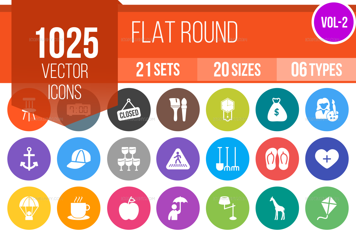 1000+ Flat Round Icons Bundle (V-2)