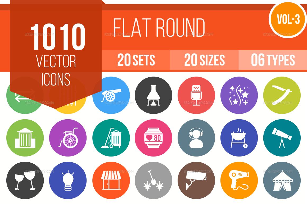 1000+ Flat Round Icons Bundle (V-3)