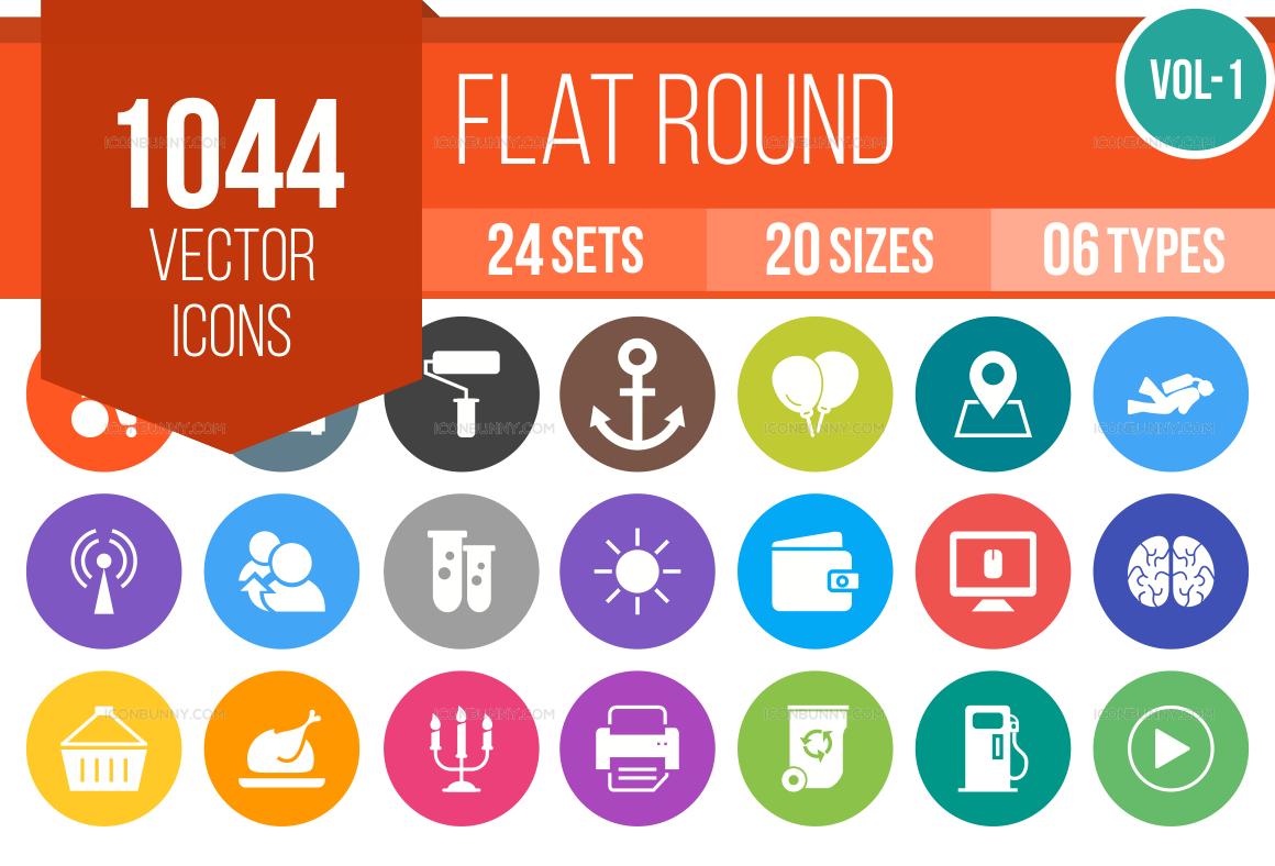 1000+ Flat Round Icons Bundle (V-1)