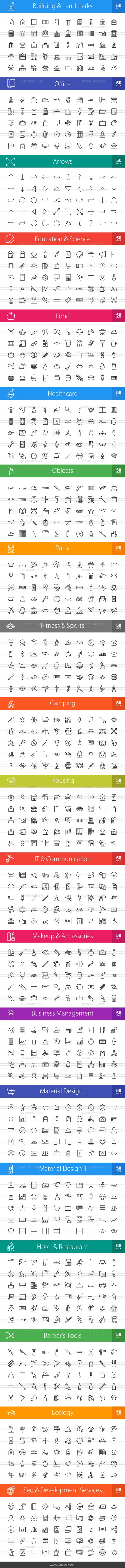 1010 Line Icons Bundle - Preview - IconBunny