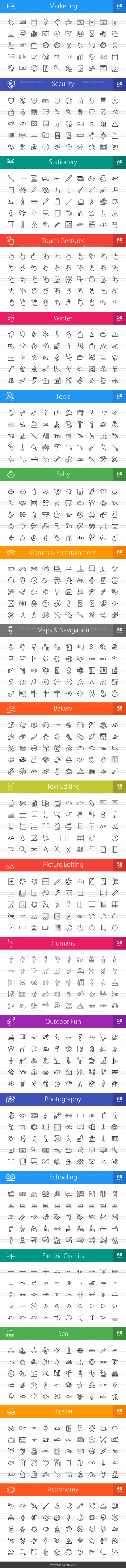 1000 Line Icons Bundle - Preview - IconBunny