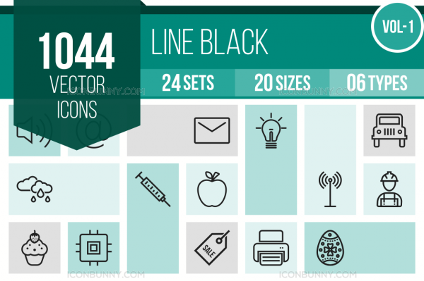1044 Line Icons Bundle - Overview - IconBunny