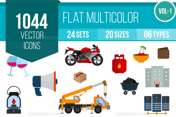 1044 Flat Multicolor Icons Bundle - Overview - IconBunny