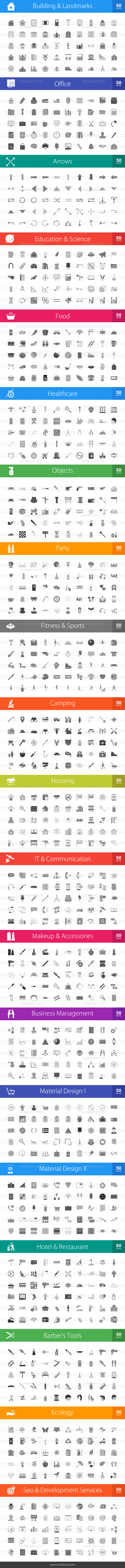1010 Greyscale Icons Bundle - Preview - IconBunny