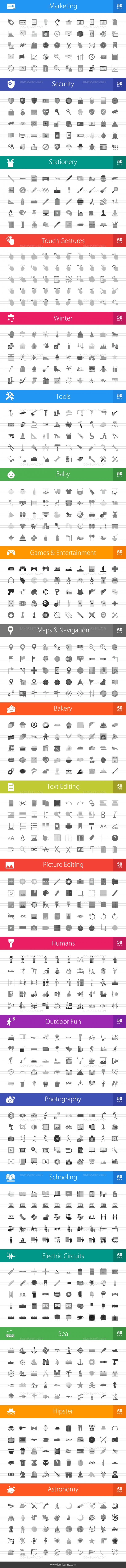 1000 Greyscale Icons Bundle - Preview - IconBunny