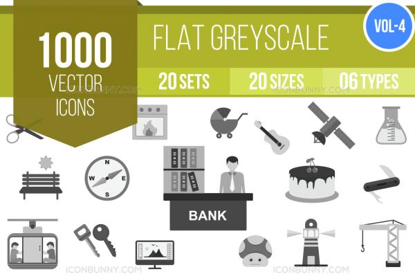 1000 Greyscale Icons Bundle - Overview - IconBunny