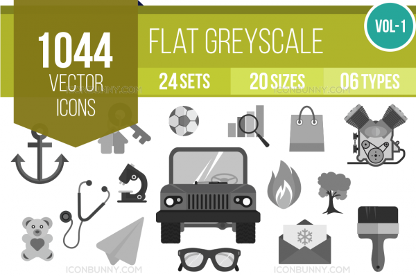 1044 Greyscale Icons Bundle - Overview - IconBunny