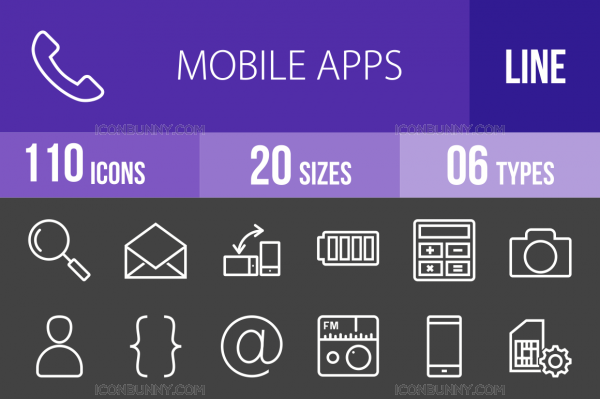 Mobile Apps Line Inverted Icons