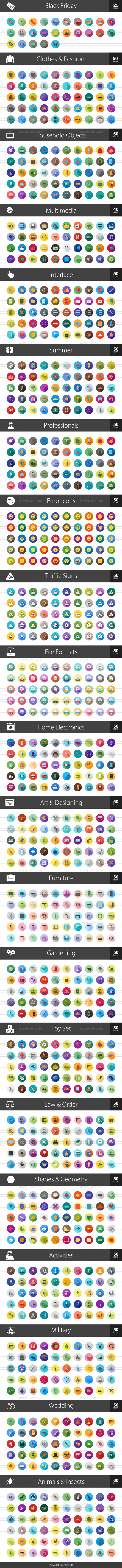 1025 Flat Shadowed Icons Bundle - Preview - IconBunny