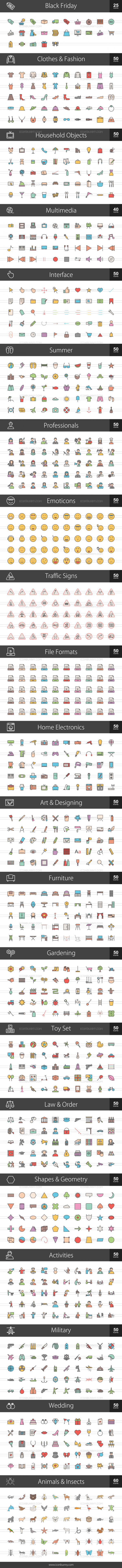 1025 Line Multicolor Filled Icons Bundle - Preview - IconBunny
