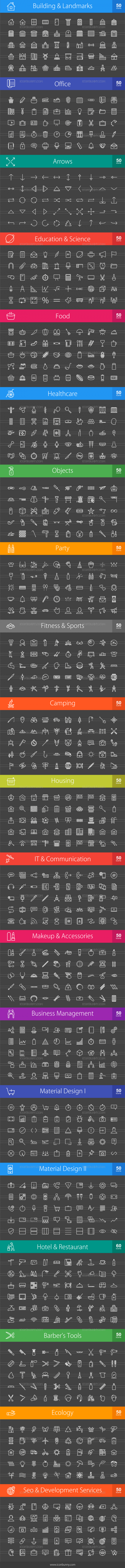 1010 Line Inverted Icons Bundle - Preview - IconBunny