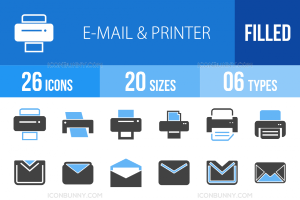 26 Email & Printers Blue & Black Icons - Overview - IconBunny