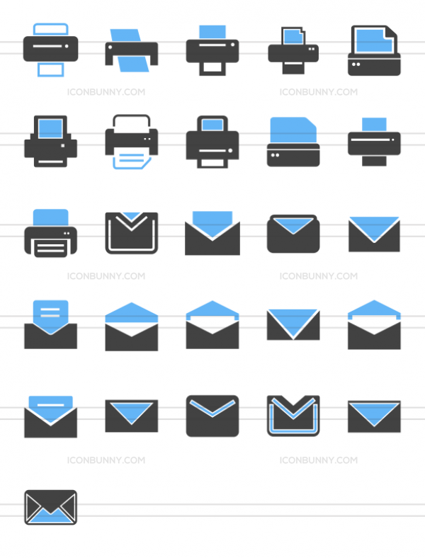 26 Email & Printers Blue & Black Icons - Preview - IconBunny