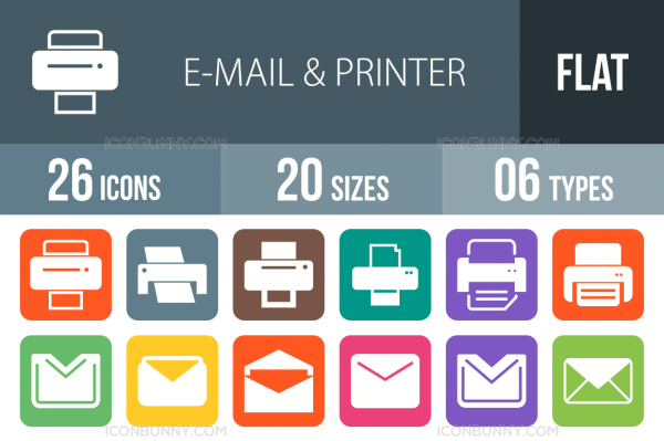 26 Email & Printers Flat Round Corner Icons - Overview - IconBunny