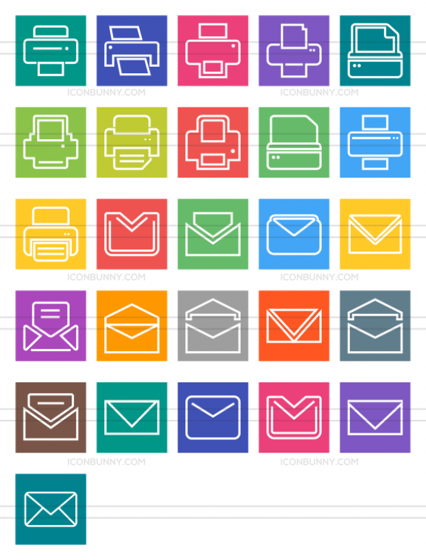 26 Email & Printers Line Multicolor B/G Icons - Preview - IconBunny