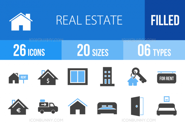 26 Real Estate Blue & Black Icons - Overview - IconBunny