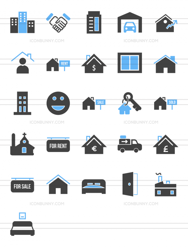26 Real Estate Blue & Black Icons - Preview - IconBunny