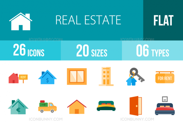 26 Real Estate Flat Multicolor Icons - Overview - IconBunny