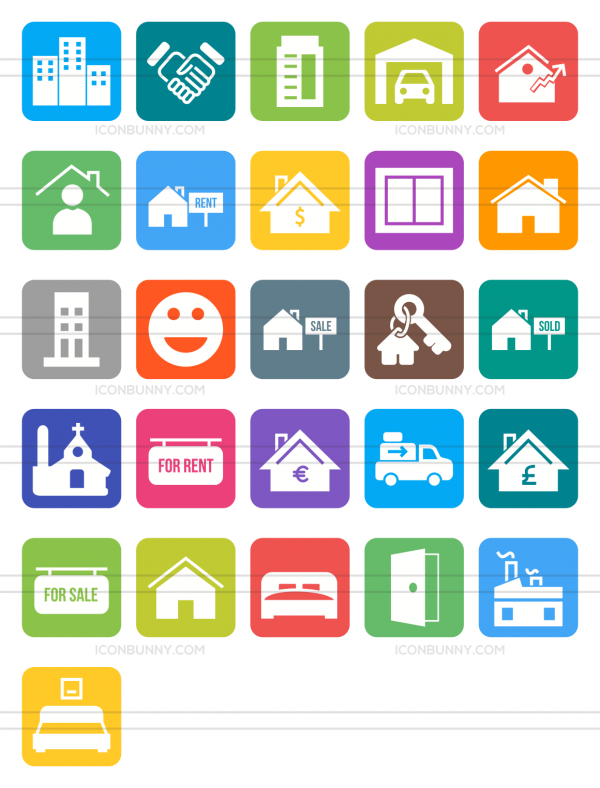 26 Real Estate Flat Round Corner Icons - Preview - IconBunny