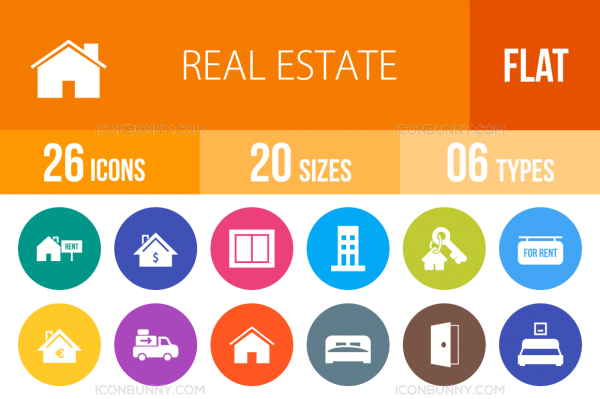 26 Real Estate Flat Round Icons - Overview - IconBunny
