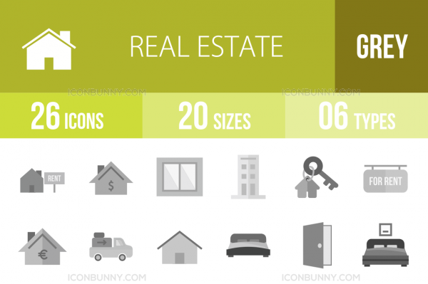 26 Real Estate Greyscale Icons - Overview - IconBunny