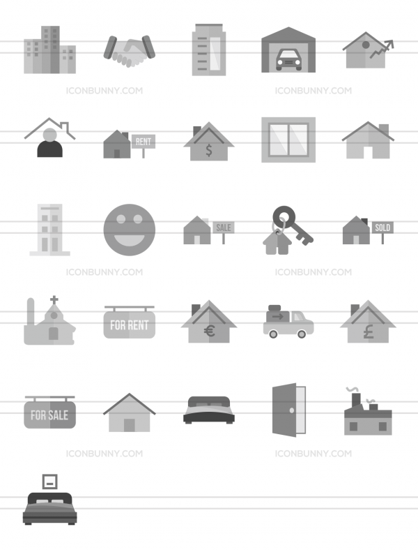 26 Real Estate Greyscale Icons - Preview - IconBunny
